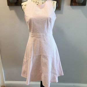 J Crew Pink Seersucker Dress with Bow Detail